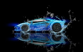 Preview wallpaper Lamborghini Aventador blue supercar, water splash, creative design