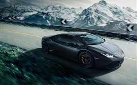 Preview wallpaper Lamborghini Huracan LP640-4 black supercar, speed, road