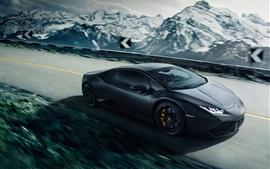 Lamborghini LP640-4 Уракан черный суперкар, скорость, дорога