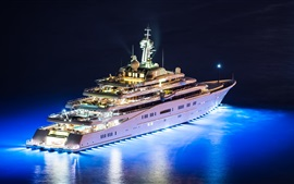 Preview wallpaper Mega yacht, night, lights