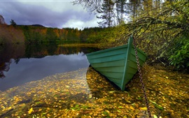 Preview wallpaper Morning, lake, boat, nature landscape