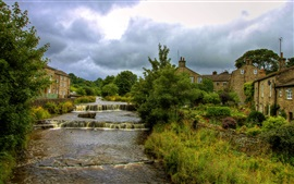 Preview wallpaper North Yorkshire, England, river, town, trees