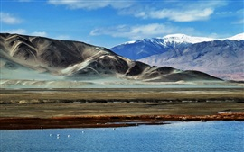 Preview wallpaper Pamir mountains, sky, clouds, lake