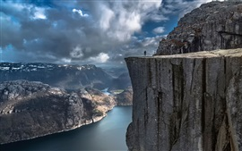 Preview wallpaper Preikestolen, Norway, rocks, cliff, clouds, storm