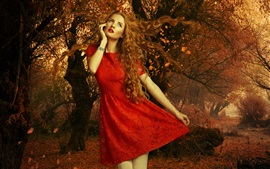 Preview wallpaper Red dress girl, autumn, leaves, trees