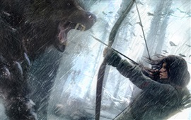 Preview wallpaper Rise of the Tomb Raider, Lara Croft with bear