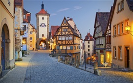 Preview wallpaper Rothenburg, Germany, evening, street, lights, houses