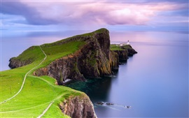 Preview wallpaper Scotland, Neist point, lighthouse, dawn, coast