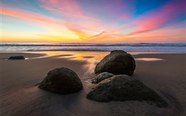 Preview wallpaper Sea, stones, sunset, beach