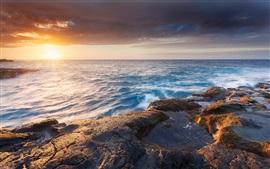 Mar, sol, praia, ondas, nuvens