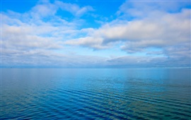 Sky, clouds, sea, ripples, blue