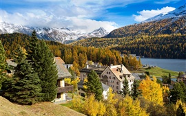 Preview wallpaper Switzerland, St. Moritz, mountain, trees, river, houses