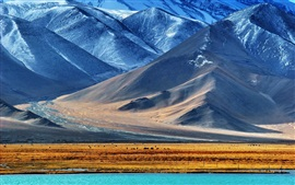 Preview wallpaper The Pamir mountains, lake, snow