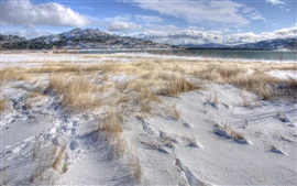 Preview wallpaper Thick snow, grass, winter, lake, mountains