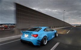 Preview wallpaper Toyota GT86 blue car rear view, highway