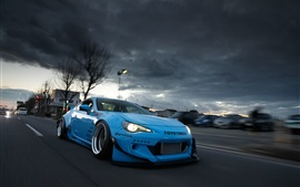 Toyota GT86 blue supercar front view