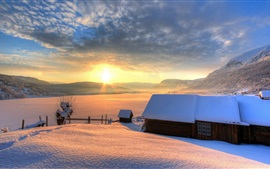 Winter, snow, house, mountains, sky, sun