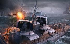 Мир Военные корабли, компьютерная игра, море, корабли