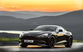 Preview wallpaper 2014 Aston Martin black car, sunset