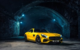 Preview wallpaper 2015 Mercedes AMG GT C190 yellow supercar