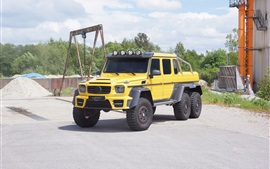 2 015 Mercedes-Benz G63 AMG 6x6 желтый автомобиль