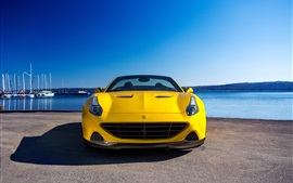 Preview wallpaper 2015 Pininfarina Ferrari California yellow supercar front view