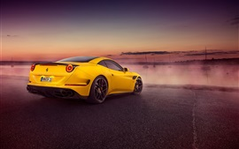 Preview wallpaper 2015 Pininfarina Ferrari California yellow supercar rear view
