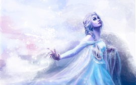 Preview wallpaper Art painting, girl, blue dress, cold, snow, blizzard