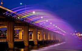 Preview wallpaper Asia, Korea, Seoul, Banpo Bridge, rainbow fountain, night lights