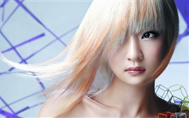 Preview wallpaper Asian girl, white hair, eyes, makeup