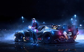 Preview wallpaper Back to the Future, Marty McFly, supercar