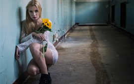 Preview wallpaper Blonde girl, corridor, flower