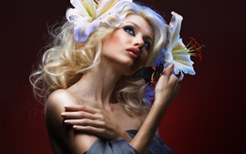 Preview wallpaper Blonde girl, makeup, butterfly, flowers