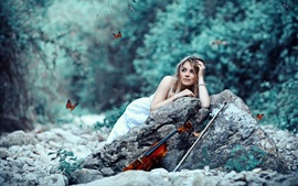Preview wallpaper Butterflies, girl, violin, stones