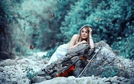 Aperçu fond d'écran Papillons, fille, violon, pierres