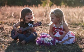 Preview wallpaper Children, cute girls, guitar
