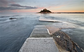 Preview wallpaper England, Marazion, lighthouse, sea, dusk