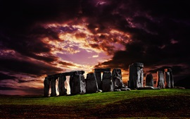 Preview wallpaper England, Stonehenge, grass, stones, sunset, clouds