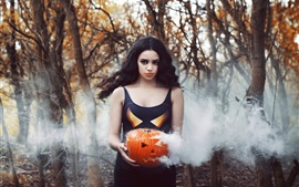 Preview wallpaper Girl, pumpkin, smoke, Halloween