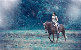 Preview wallpaper Girl riding horse