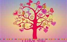 Preview wallpaper I love you, love tree, hearts