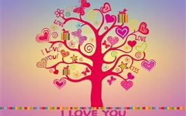 Eu te amo, amor, corações árvore