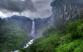 Preview wallpaper Jungle, waterfall, rocks, sky, clouds, storm