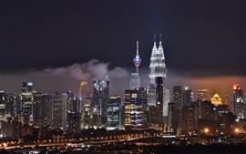 Куала-Лумпур, Малайзия, ночной город, здания, небоскребы