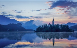 Preview wallpaper Lake Bled, Slovenia, Mariinsky Church, dawn