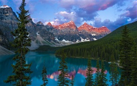 Lake, mountains, forest, trees, Canada