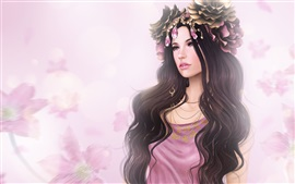 Preview wallpaper Long hair fantasy girl, flowers, jewelry