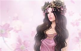 O cabelo longo menina fantasia, flores, jóias