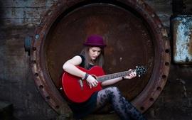 Длинные волосы девушка, шляпа, гитара, музыка