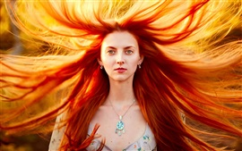 Preview wallpaper Masha, red hair girl, portrait, storm, wind